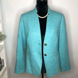 TALBOT Blue Green Wool Blend Blazer